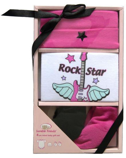 """Изображение Подарочный набор """"Рок звезда"""" (боди к/р, шапочка, 2 носочки), 4 предмета"""