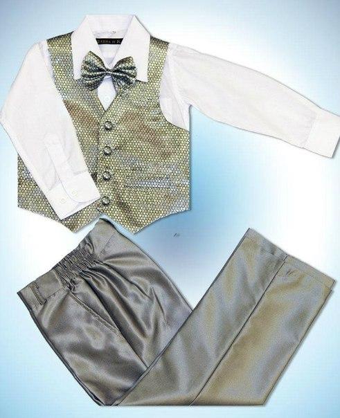 Изображение Нарядный комплект для мальчика (4 предмета, серебро)