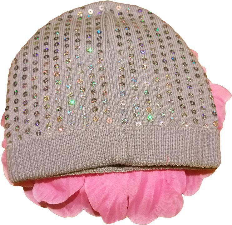 Изображение Осенняя шапочка с розовым цветком Lux