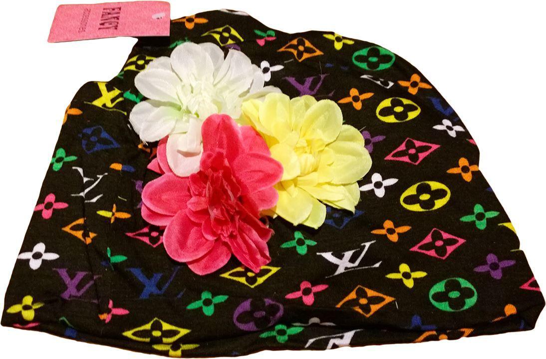 Изображение Шапочка с цветами (черная)