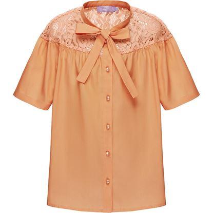 Изображение Блузка с кружевом для девочки, цвет персиковый