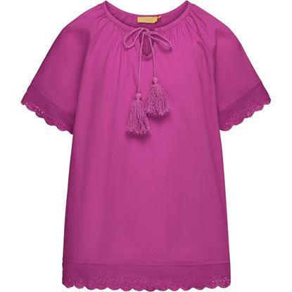 Изображение Блузка с кружевом и кисточками для девочки, цвет фуксия