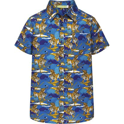 Изображение Рубашка с набивным рисунком для мальчика, цвет ярко-синий