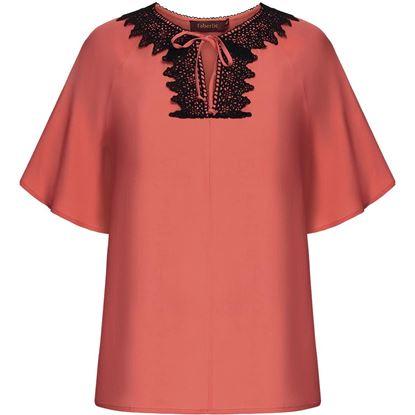 Изображение Блузка с кружевом, цвет коралловый