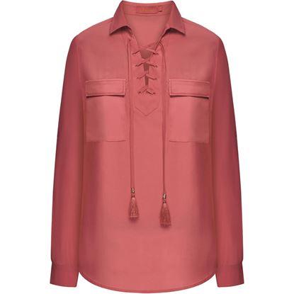 Изображение Блузка на шнуровке, цвет коралловый
