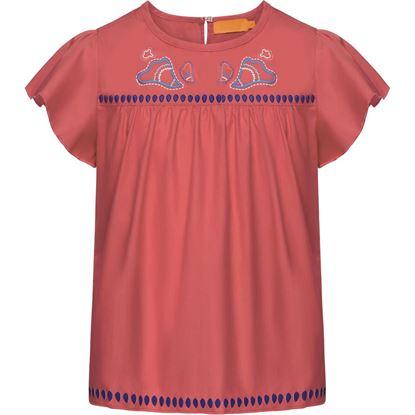 Изображение Блузка с принтом для девочки, цвет светло-коралловый