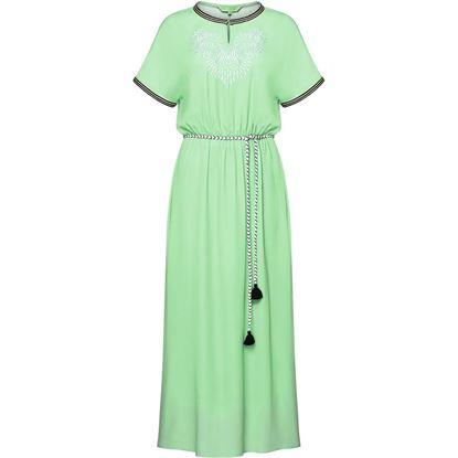 Изображение Длинное платье с вышивкой, цвет светло-зеленый