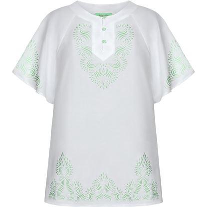 Изображение Блузка с набивным рисунком, цвет белый