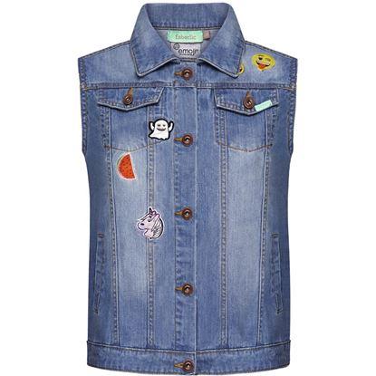 Изображение Джинсовый жилет с нашивками «Эмоджи», цвет светло-голубой