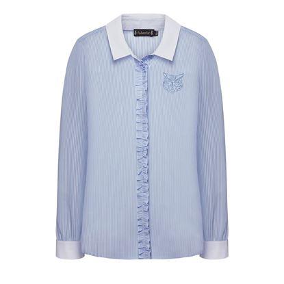 Изображение Блузка с рюшами для девочки, цвет голубой