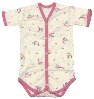 Изображение Боди на кнопках с короткими рукавами (белый с розовой окантовкой)