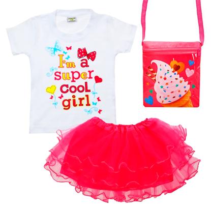 Изображение Нарядный комплект для девочки (футболка, юбка, сумочка)