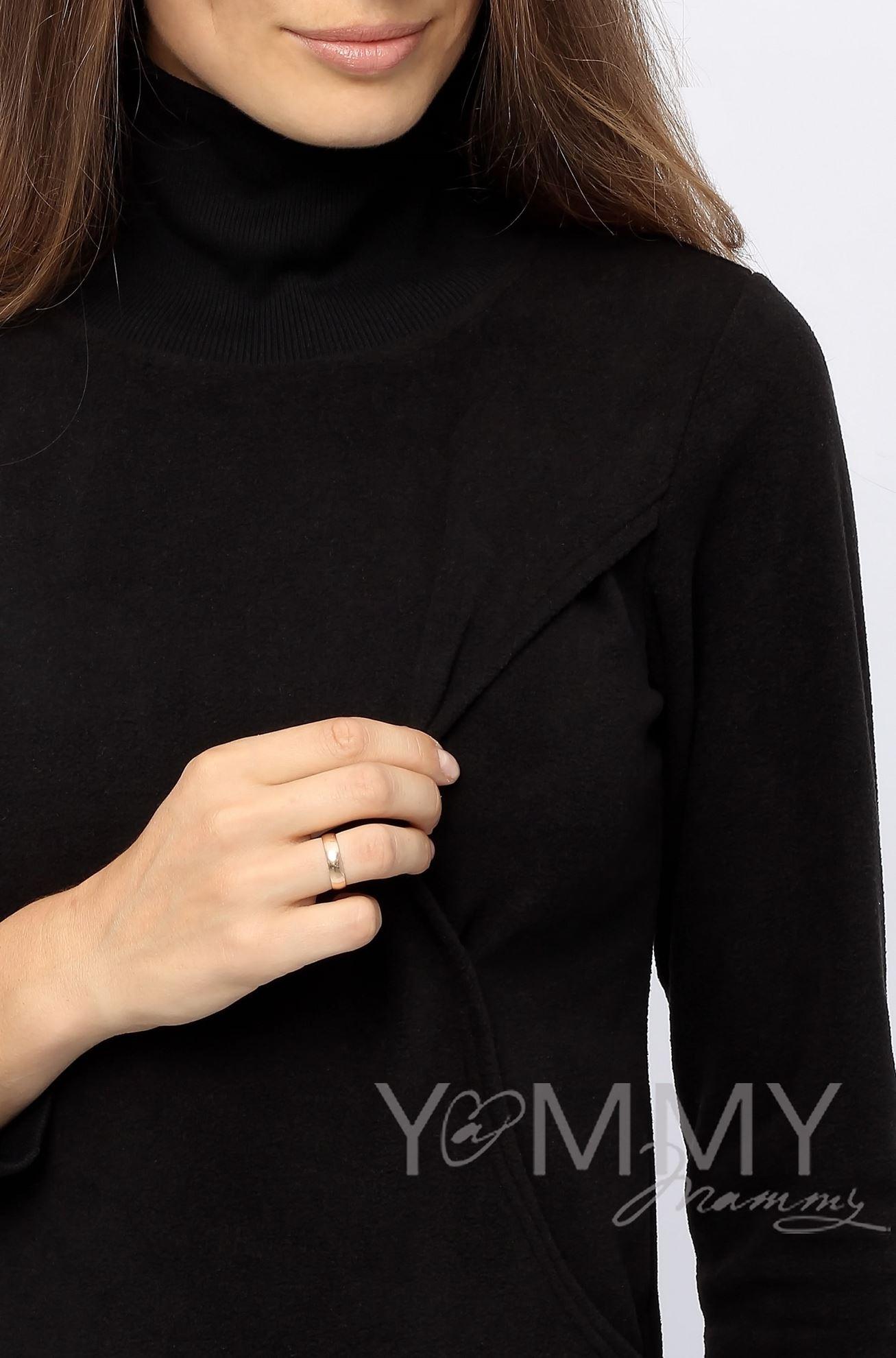 Изображение                               Джемпер флисовый с высоким горлом черный