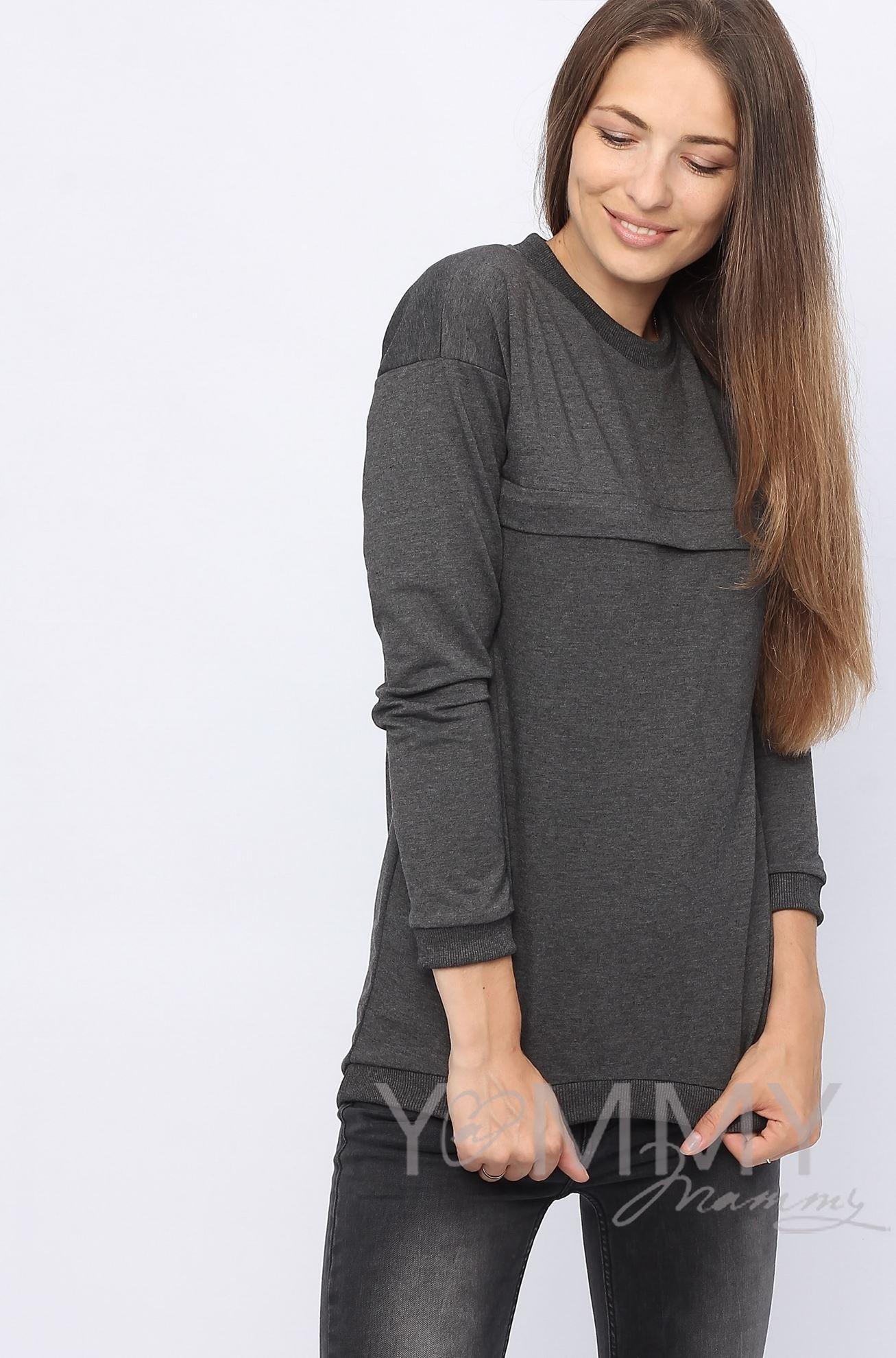 Изображение                               Джемпер с удлиненной спинкой темно-серый меланж