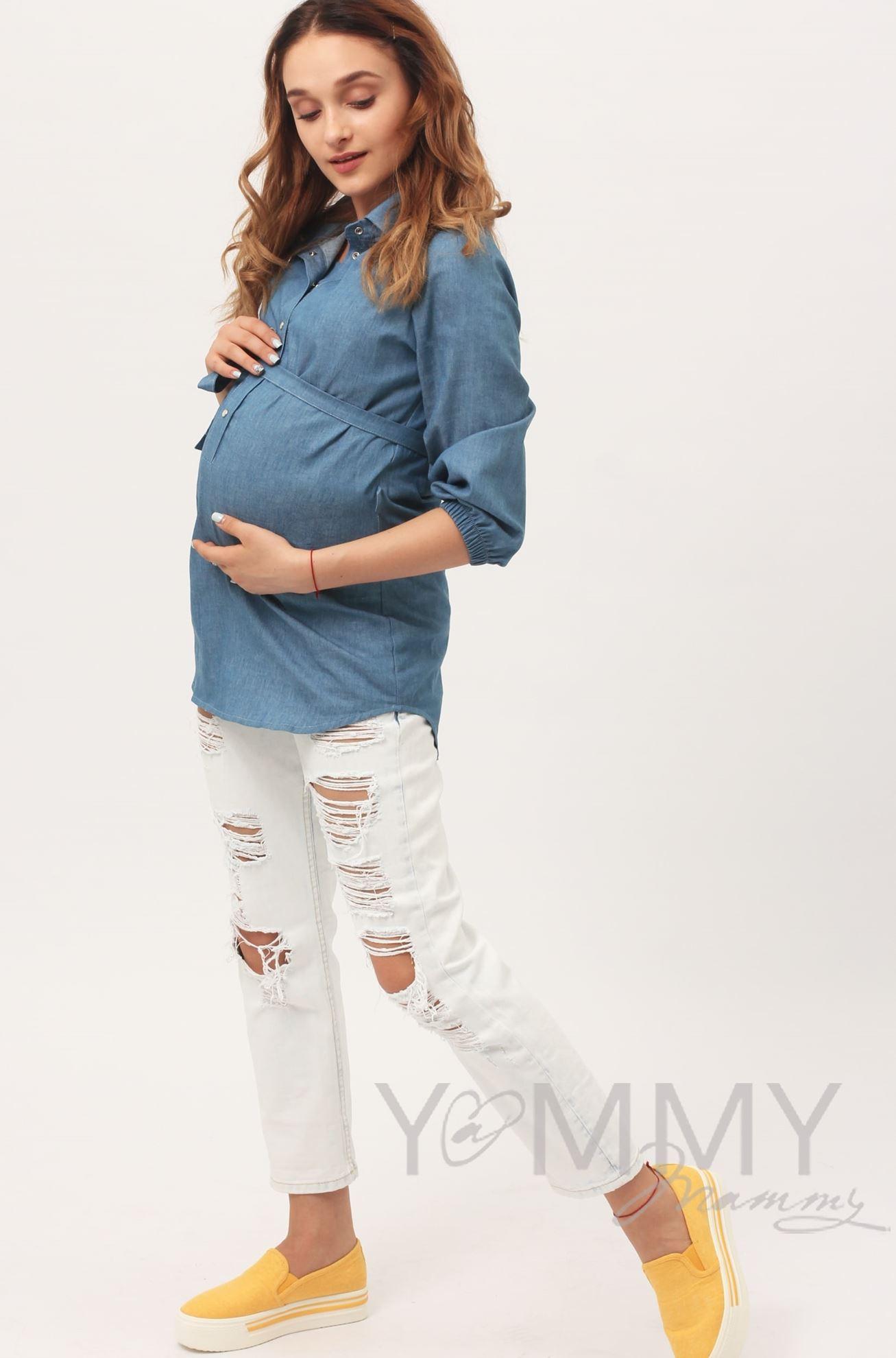 Изображение                               Рубашка джинсовая голубая