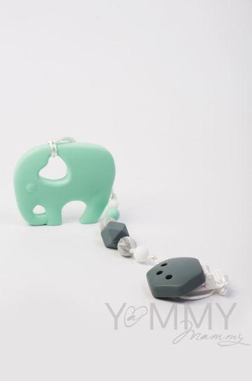 Изображение                               Силиконовый грызунок слон в серо-ментоловой гамме