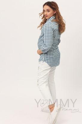 Изображение                             Рубашка джинсовая голубая в белую клетку