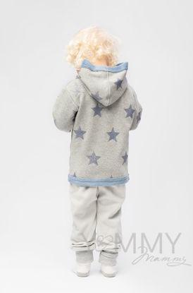 Изображение                               Детская толстовка с капюшоном на меху серый меланж с синими звездами