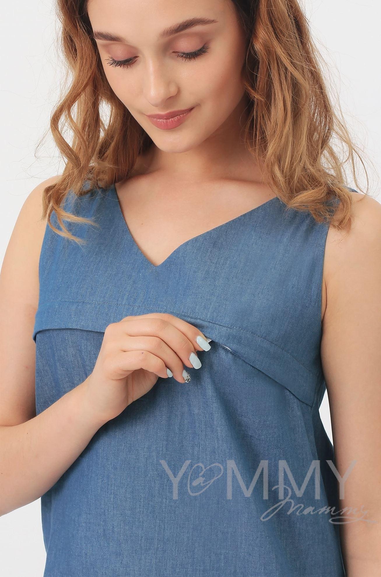 Изображение                               Блуза из денима с черным кружевом