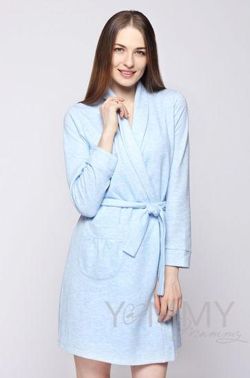 Изображение                               Комплект халат с сорочкой голубой