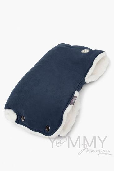 Изображение                               Муфта на коляску темно-синяя с молочным мехом