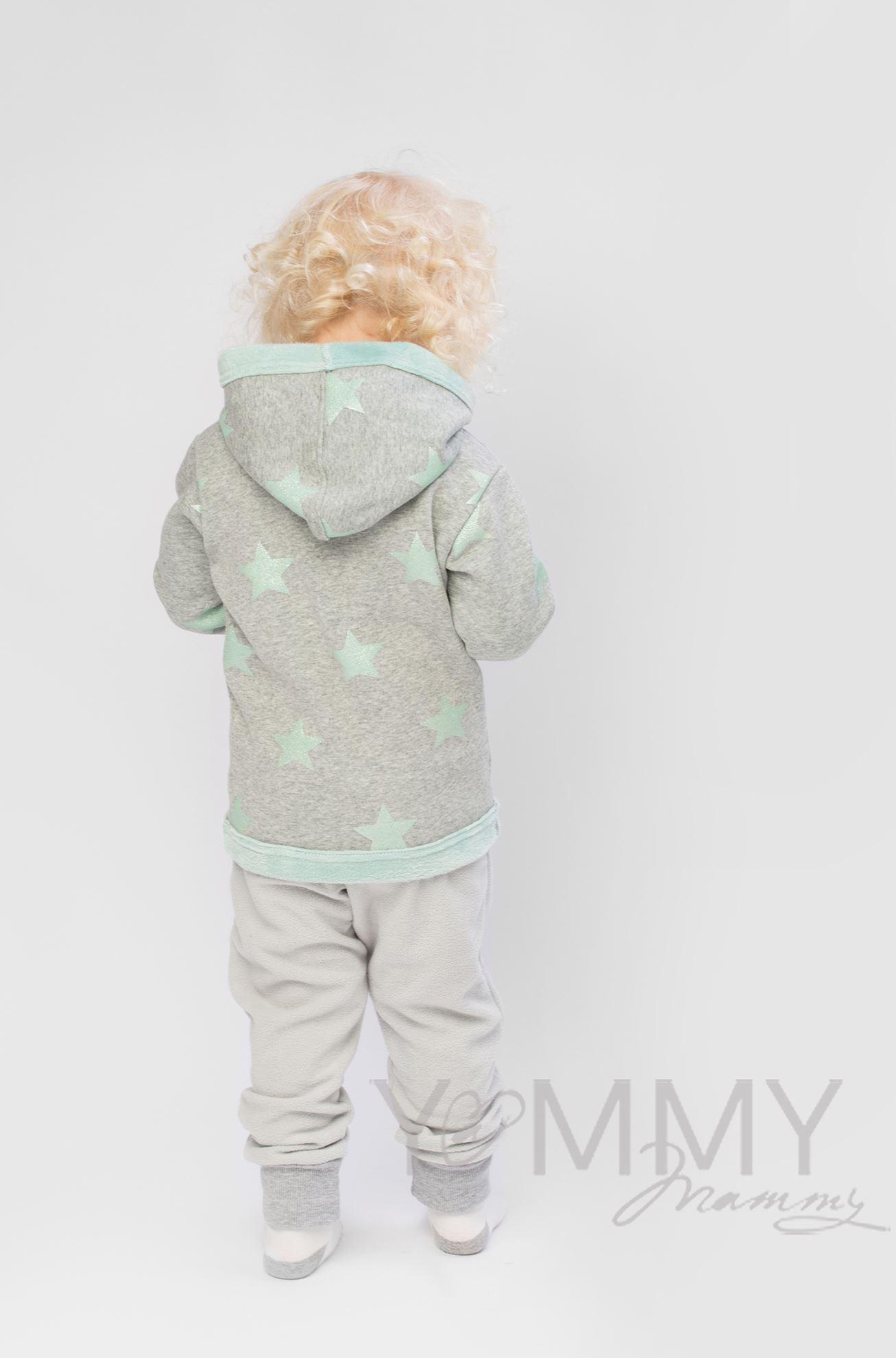 Изображение                               Детская толстовка с капюшоном на меху серый меланж с ментоловыми звездами
