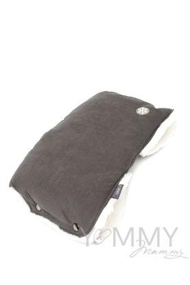 Изображение                               Муфта на коляску темно-серая с молочным мехом