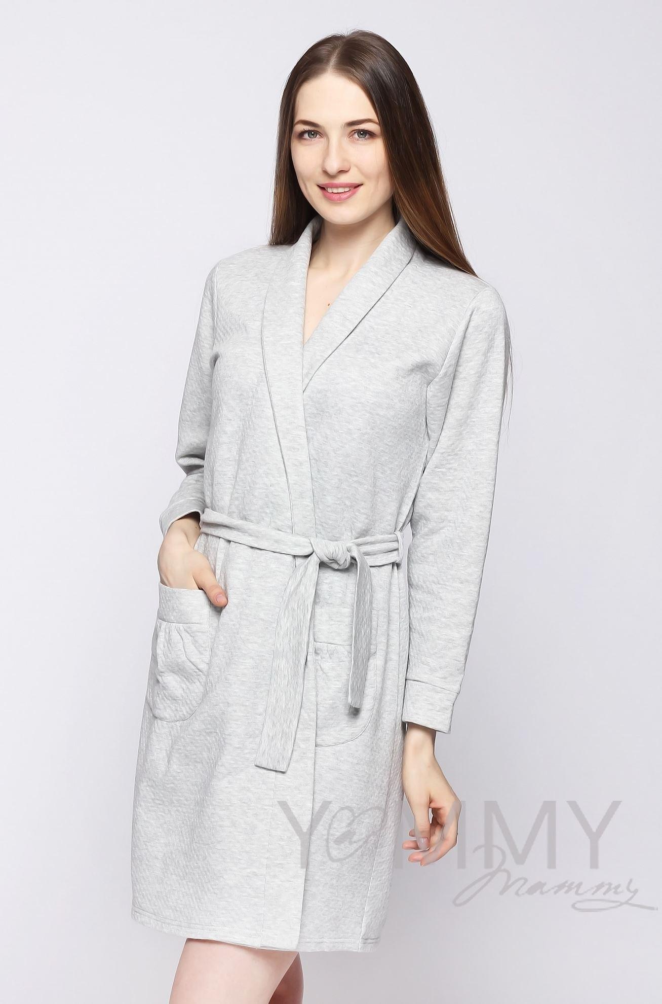 Изображение                               Комплект халат с сорочкой серый меланж