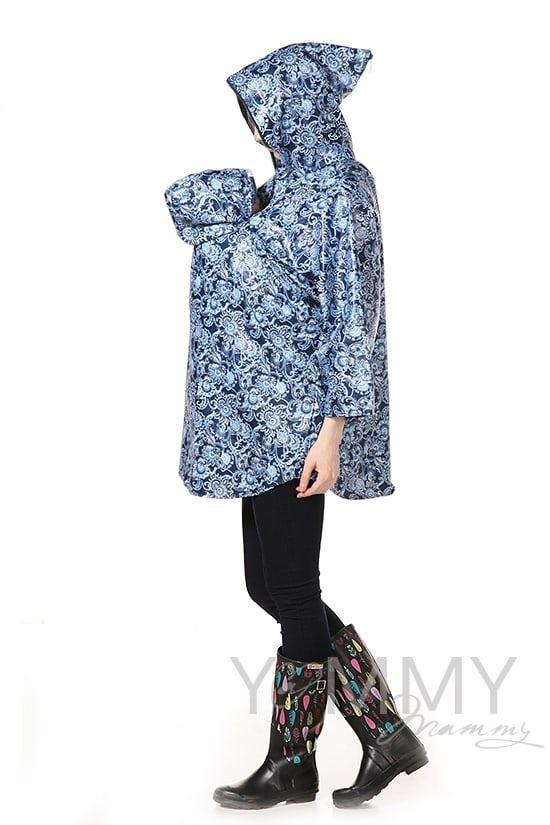 Изображение                               Слингодождевик синий с принтом гжель