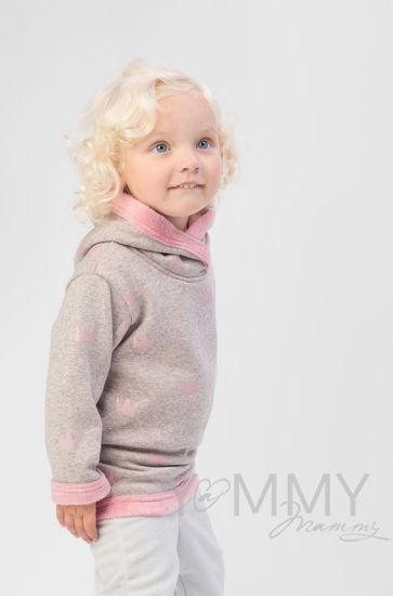 Изображение                               Детская толстовка с капюшоном на меху серый меланж с розовыми коронами