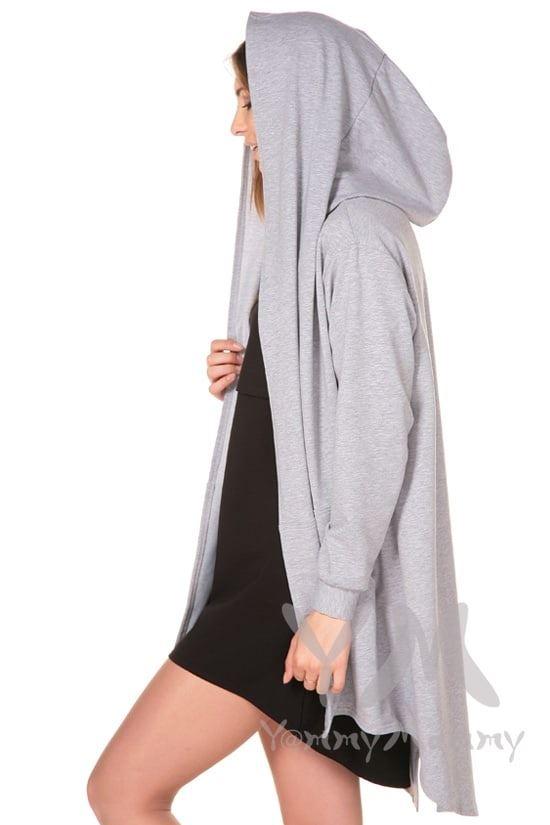 Изображение                               Кардиган с капюшоном серый меланж