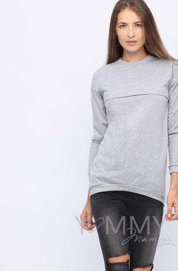 Изображение                               Джемпер с удлиненной спинкой серый меланж