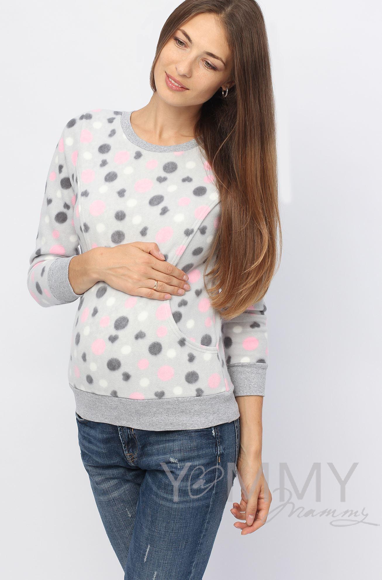 Изображение                               Джемпер флисовый серый с розовыми и серыми кругами