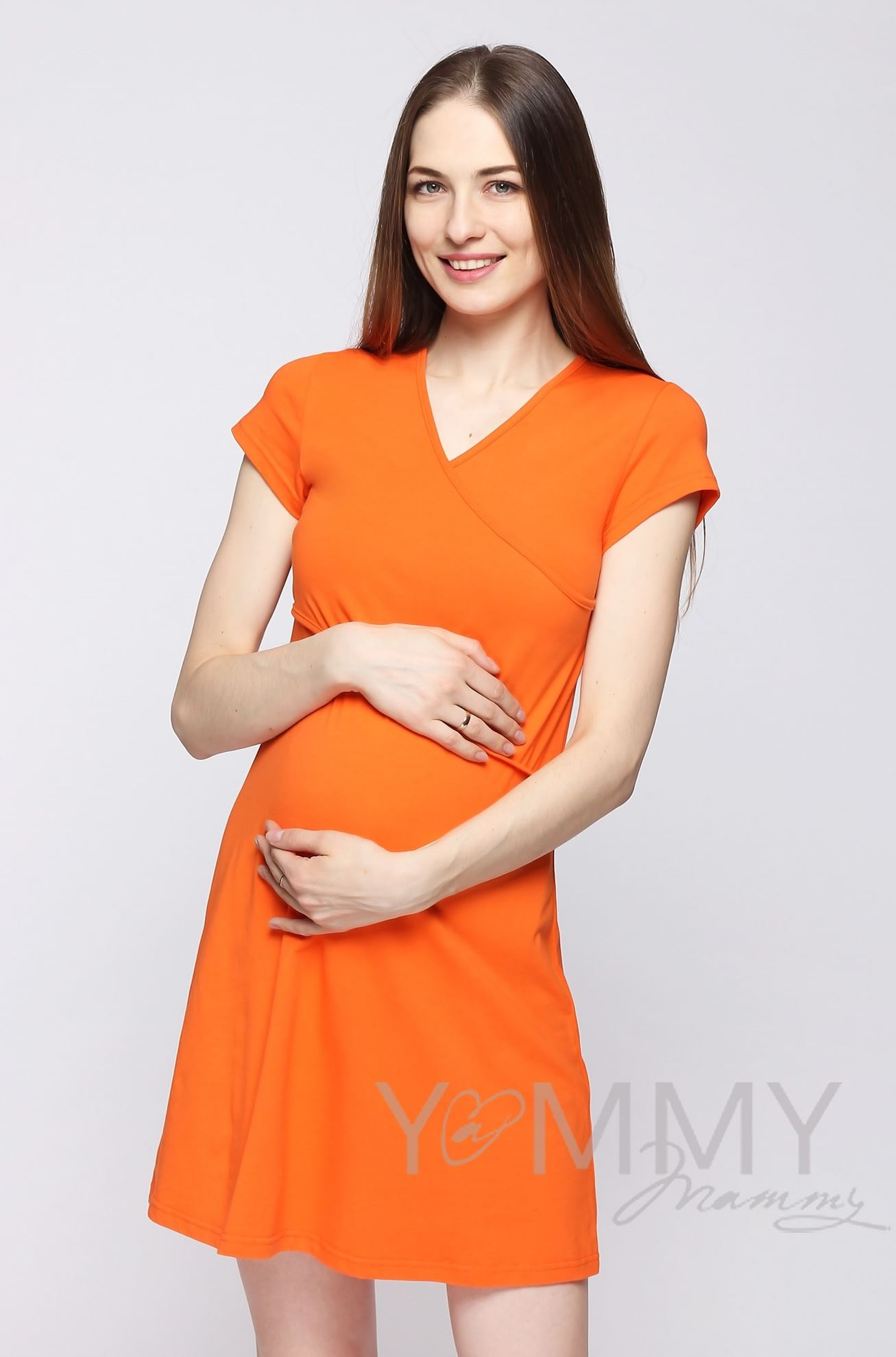 Изображение                               Платье кимоно для дома и сна с коротким рукавом оранжевое