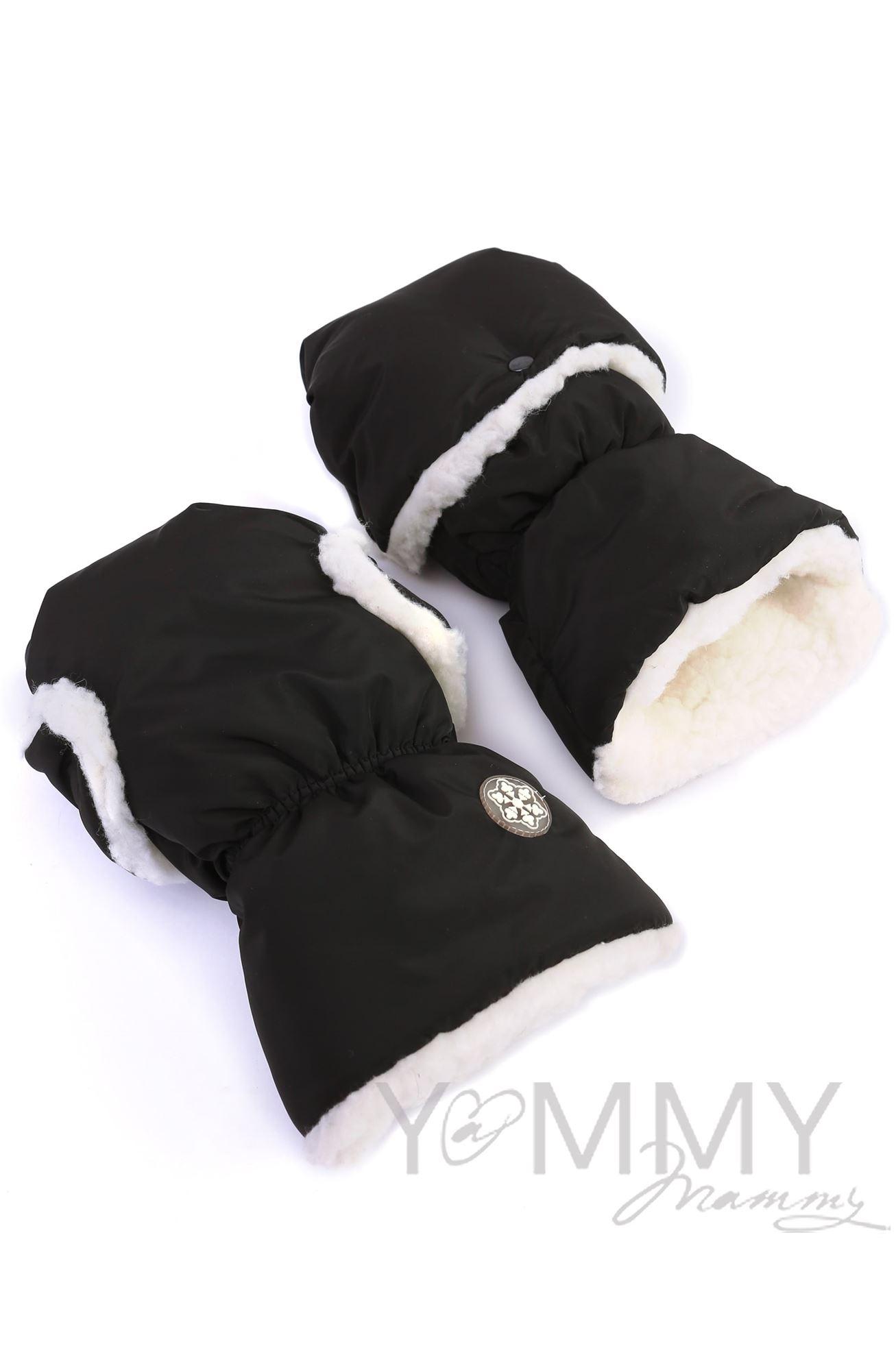 Изображение                               Рукавицы на коляску черные с молочным мехом