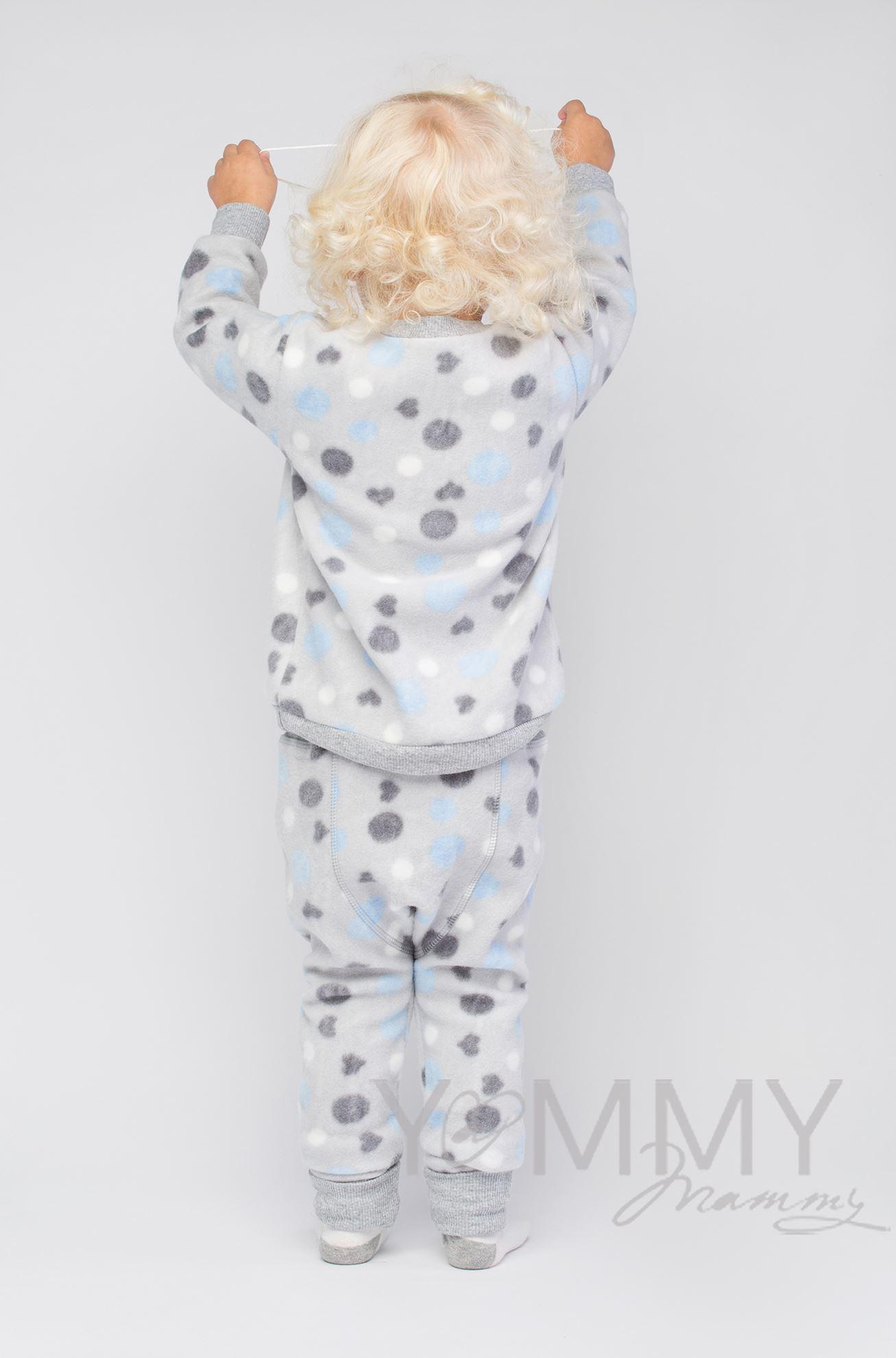 Изображение                               Детский флисовый костюм серый с голубыми и серыми кругами