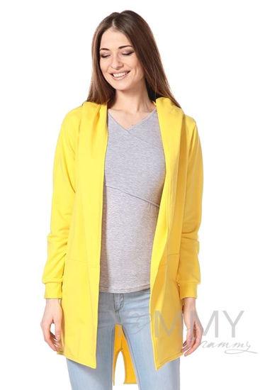 Изображение                               Кардиган с капюшоном желтый