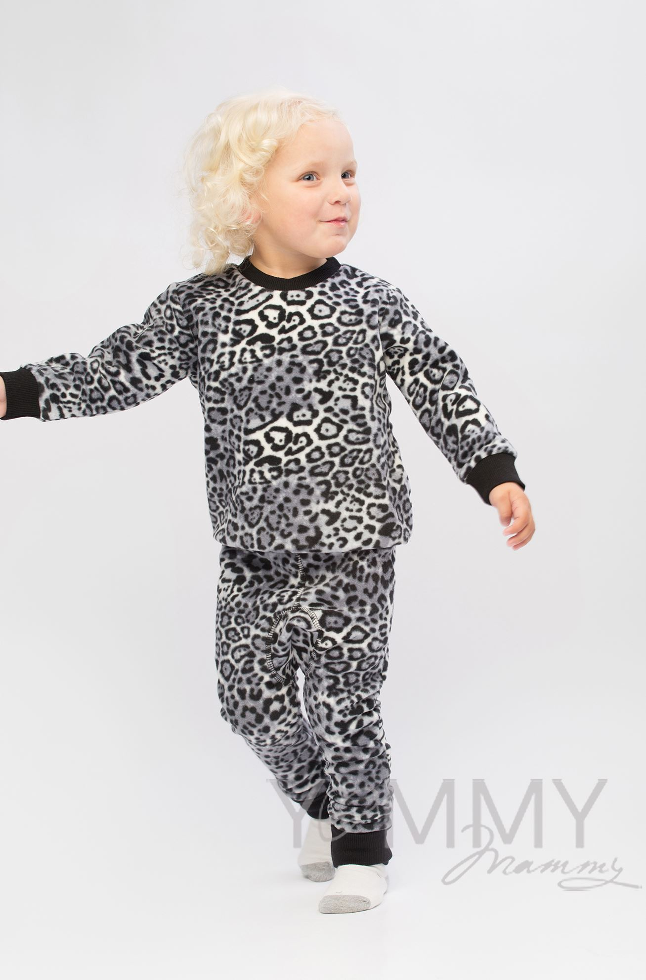 """Изображение                               Детский флисовый костюм серый """"леопард"""""""