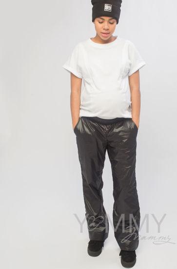 Изображение                               Брюки на флисовой подкладке универсальные черные с блеском