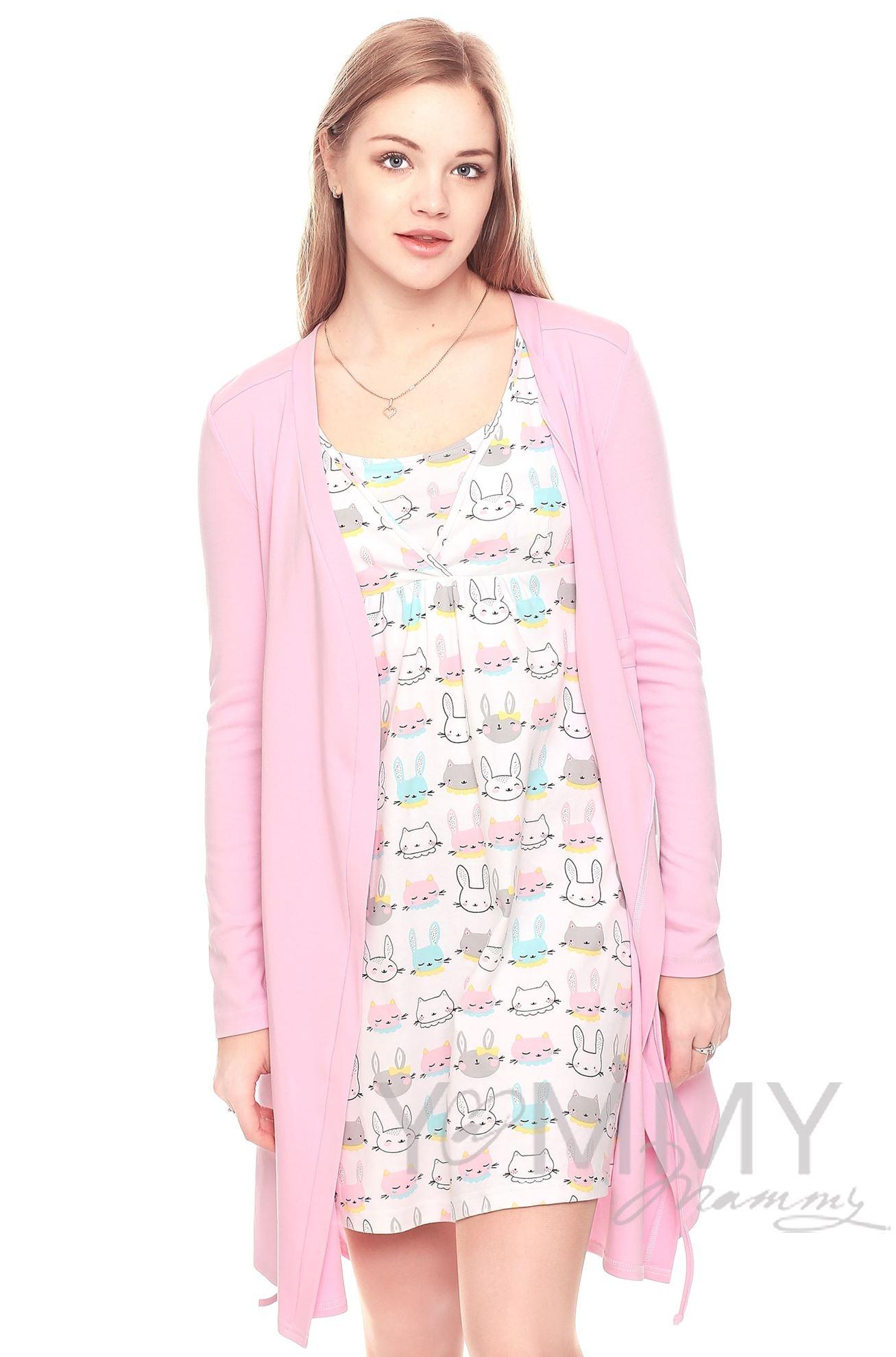 Изображение                               Комплект халат с сорочкой розовый с принтом котики и зайчики