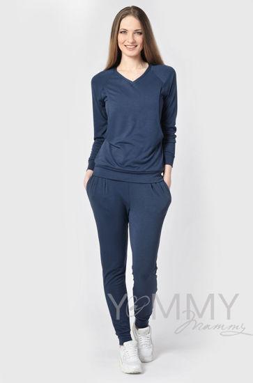 Изображение                               Костюм из джемпера и брюк темно-синий меланж