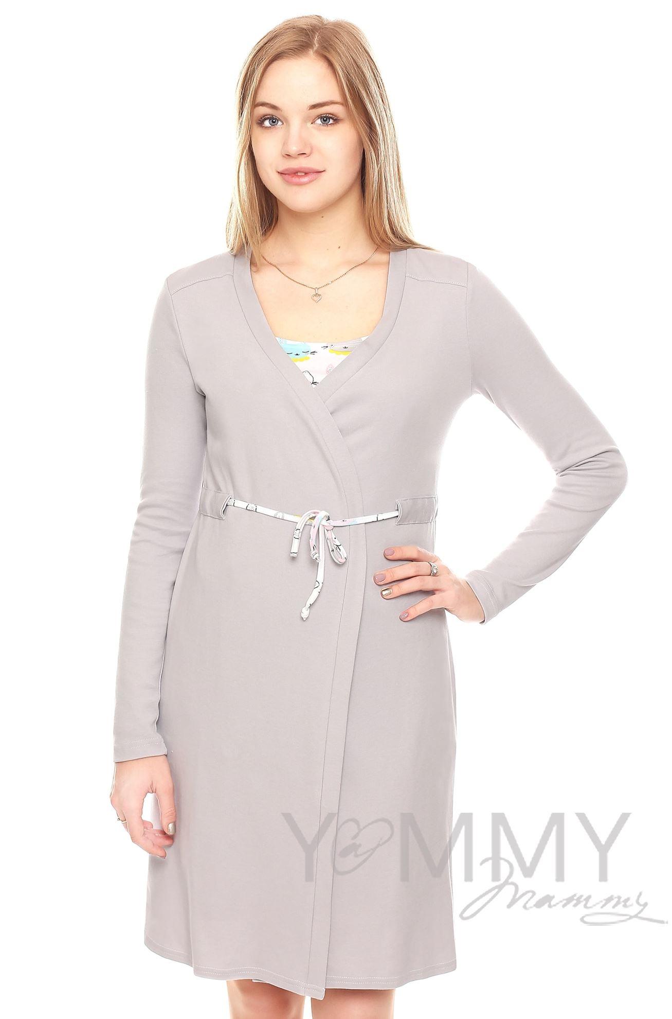 Изображение                               Комплект халат с сорочкой серый с принтом котики и зайчики