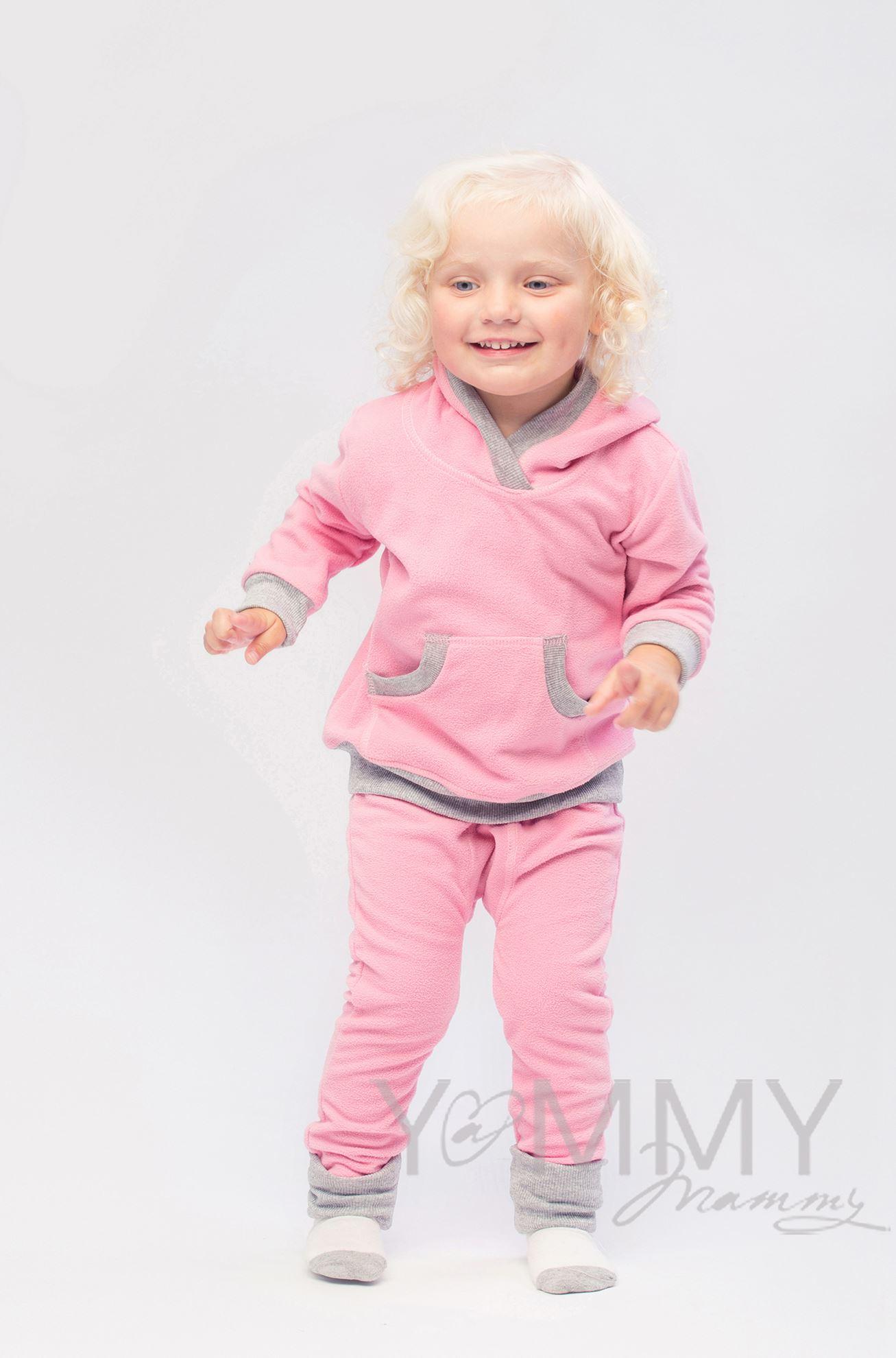 Изображение                               Детский флисовый костюм с капюшоном розовый