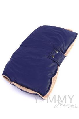 Изображение                               Муфта на коляску синяя с песочным флисом