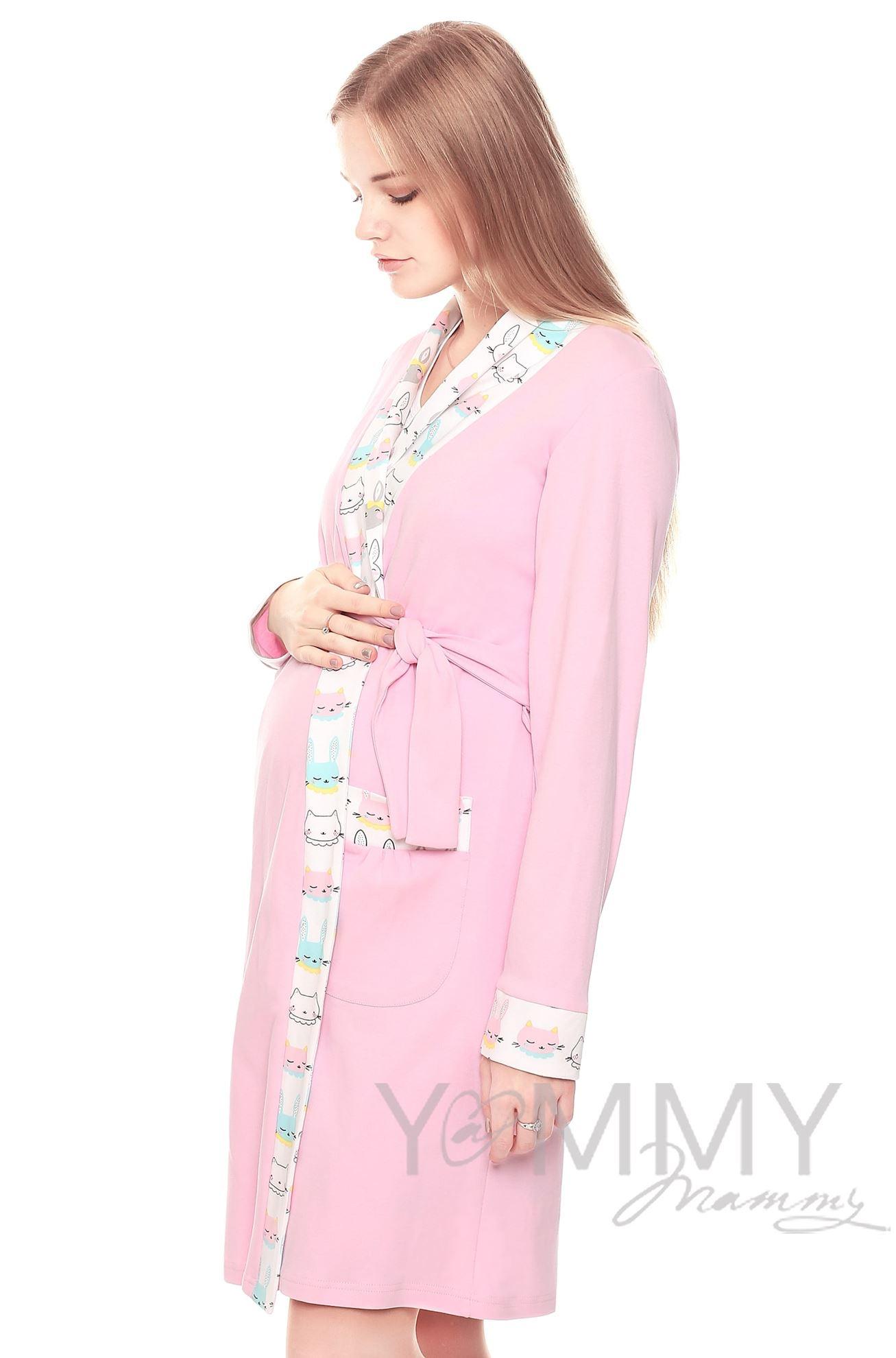 Изображение                               Комплект халат с сорочкой розовый с принтом котики/зайчики