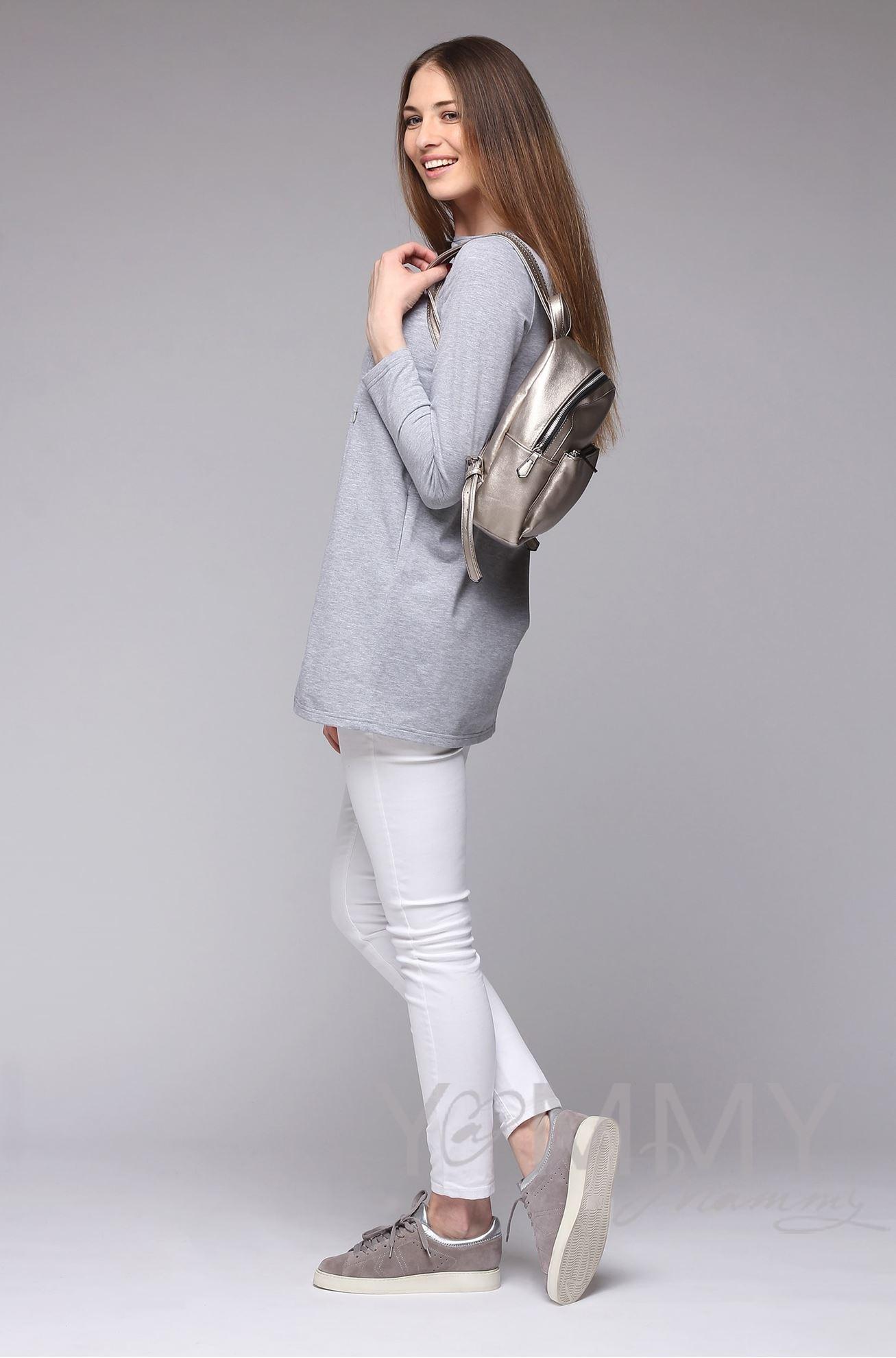 Изображение                               Туника с фигурным низом серый меланж
