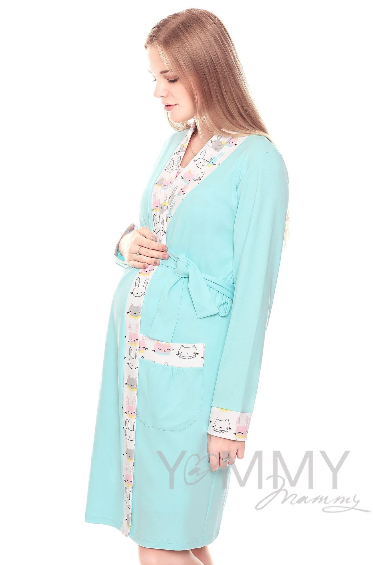 Изображение                               Комплект халат с сорочкой ментол с принтом котики/зайчики