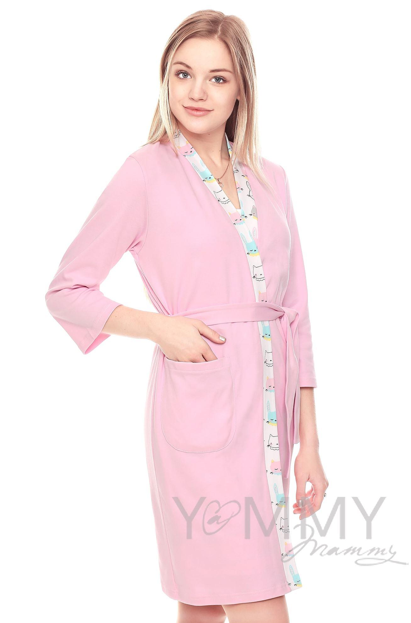 Изображение                               Комплект халат с сорочкой розовый с принтом зайчики/котики