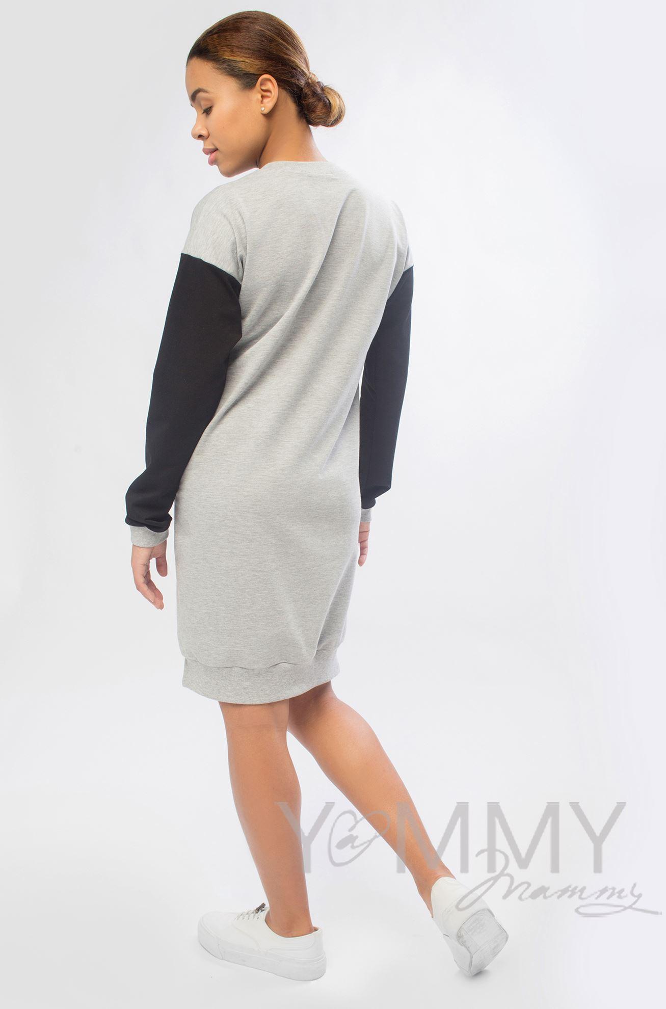 Изображение                               Платье с принтом серый меланж