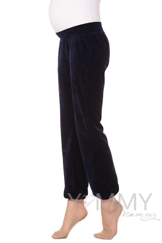 Изображение                               Универсальные спортивные брюки из велюра темно-синие
